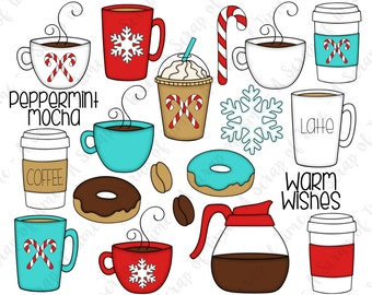 Peppermint Mocha Coffee Hand Drawn Digital Clipart - Set of 20 - Latte, Christmas, Candy Cane, Snowflake - Instant Download - Item #9169