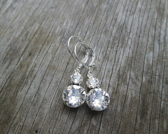Swarovski Silver Clear Crystal Double Stone Drop Earrings, Rhinestone