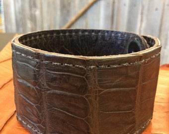 Dark Brown Alligator Leather Cuff