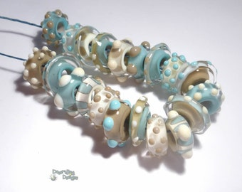 BEACH SPINNERS Handmade Lampwork Beads - Ivory Mocha Turquoise - -- 5mm Hole ----