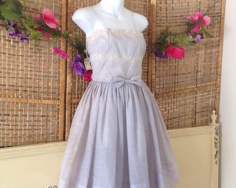 Vintage 50's Blue Party Sun Dress Bow Waist Small NWT As Is