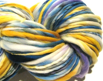 HALF OFF SALE Handspun Yarn  Forget Me Not 132 yards hand dyed merino wool blue yarn yellow yarn knitting supplies crochet supplies