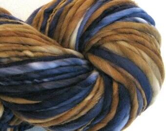Bulky Handspun Yarn Wrangler 124  yards hand dyed wool navy blue yarn brown yarn waldorf doll hair knitting supplies crochet supplies