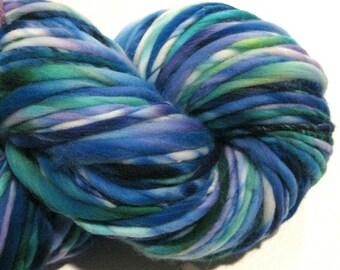 Bulky Handspun Yarn Mountain Time 140 yards hand dyed wool blue yarn green purple yarn waldorf doll hair knitting supplies crochet supplies