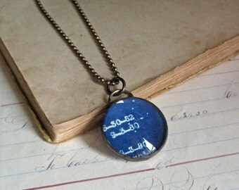 Long Necklace Vintage Blueprint Glass Bubble Pendant