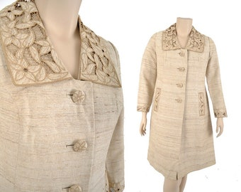 60s raw silk coat / custom made embroidered eyelet collar coat / creamy beige slub silk spring coat