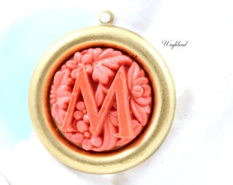 Coral Vintage Glass Monogram Alphabet Letter M Flower Pendant - 1