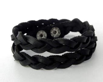 Black Braid Leather Bracelet Double Round Braid Wrap Leather Bracelet
