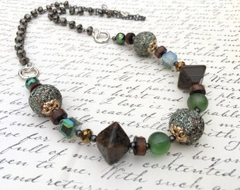 Bold Beaded Adjustable Statement Necklace in Gold, Green, Brown, Glass, Wood, Crystal, Silver- 28""