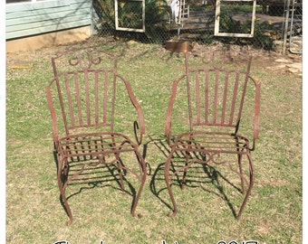 Vintage Armchairs - Outdoor Armchairs - Wrought Iron Chairs - Outdoor Furniture - Pair Of Chairs - Wrought Iron Armchairs - Vintage Chairs