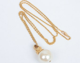 Vintage Faux Pearl Chunky Long Necklace Disco