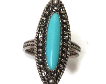 Turquoise Lucite Cabochon Ring Silver Cannetille Filigree Vintage Size 7.5/P