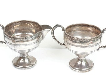 Hunt Silver Company Sterling Creamer and Sugar Set Floral Accent