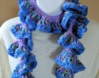 Ruffled Fancy Scarf Crocheted in Pretty Pastel Purples & Blues - Wear a Variety of Ways for Stylish Look