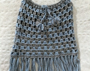 Crocheted Poncho - Flecked Blue and Gray Yarn for Children size 3 - 4 years old