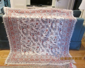 Tablecloth/throw ethnic motif possibly Asian or African good condition 1940's