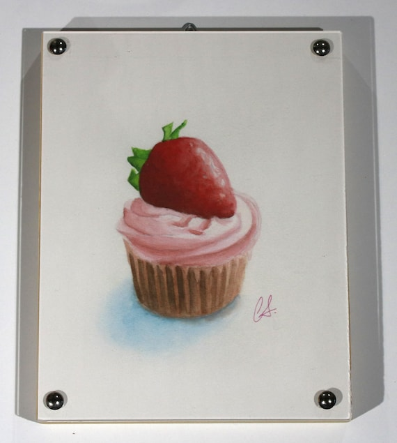 "Cupcake Print of watercolor painting, ""Strawberry on Top"" Framed"