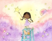 She Paints the Stars Brilliant - African American Girl Painting the Stars - Fine Art Print