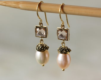 Pearls Elegant Classic Earrings, Champagne Square Quartz Bezel, Spring Weddings, Birthday Gift for Wife, Gift for Mother, Downton Abbey