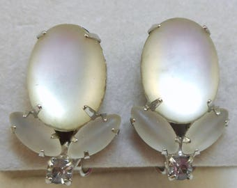 Vintage Frosted Glass Clip Earrings
