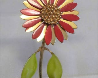 sale 15% 1970s Flower Power Brooch Daisy Red Gold Green Fun Summer