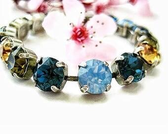 Sand and Sea - Swarovski Crystal Bracelet - Rhinestone Tennis Bracelet, Rhinestone Bracelet , Pick Your Metal Finish Great Gift