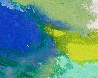 """Original Abstract Expressionism Modern Art, Abstract Acrylic Painting, 10x10"""" blue, yellow, green, """"Colorblock 18"""" minimal stained canvas"""