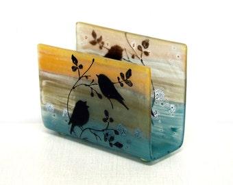 Fused Glass napkin holder ,black silhouette birds  landscape .