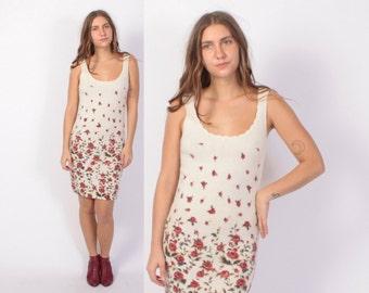 Vintage 90s Sweater DRESS / 1970s Ivory ROSE Print Sleeveless Knit Dress XS - S