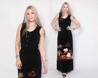 Vintage 70s DRESS Set / 1970s Black Velvet Hippie Applique Vest Top and Skirt S