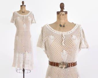 Vintage 70s CROCHET DRESS / 1960s Boho Ivory Sheer Midi Dress