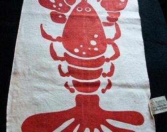Three Big Vintage Lobster Bibs or Napkins of Bold NOW! Design