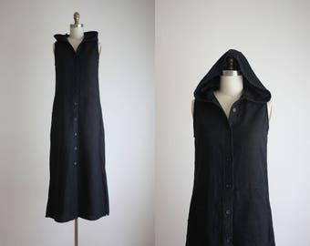 hooded linen maxi dress
