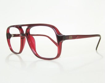 ON SALE Vintage 1980s Mens Aviator Red Eyeglasses Glasses Sunglasses Cranberry Ruby Dark Blood 80s Eighties Indie Hipster Chic Retro Deadsto