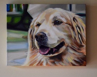 11x14 Custom Pet Painting Golden Retriever Realistic Beloved Dog Wall Art Custom Pet Lover Pet Portrait from Your Photograph on Wide Profile