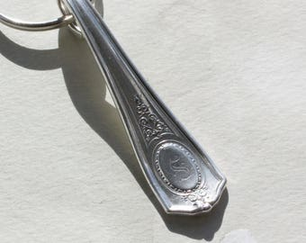 Spoon Key Chain Spoon Key Ring Silverware Key Chain Louis XVI Pattern Monogrammed Keychain Monogram S with Back Engraving