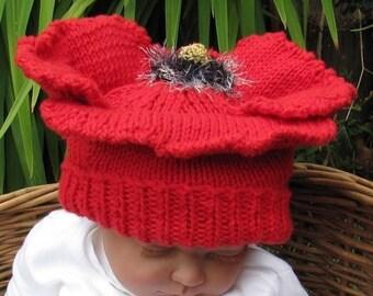 50% OFF SALE Baby Poppy Beanie Hat pdf knitting pattern - madmonkeyknits