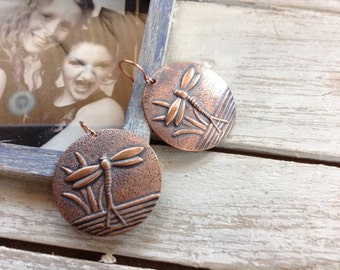 Earrings Copper Dragon Fly Dangles