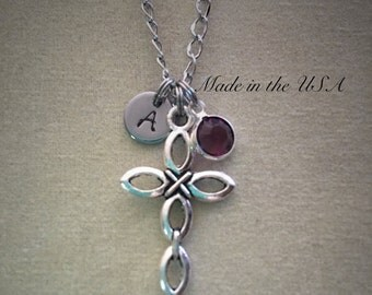 Cross necklace,Personalized jewelry,Birthstone necklace,Silver cross charm,Religious jewelry,Christian jewelry,Gift for her,Women's jewelry