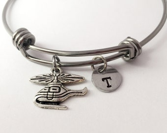 Helicopter Charm Bangle Bracelet. Chopper charm. Med flight Charm. Med flight jewelry. Helicopter Jewelry. Personalized bracelet .