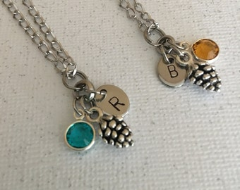 Pine Cone necklace set Birthstone necklaces Personalized jewelry Best friend necklaces Jewelry Gift for her Best friend jewelry BFF gift