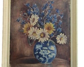 Vintage Framed Floral Still Life Painting Daisies Flowers Chinoiserie Vase