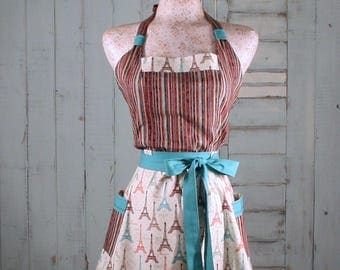 Eiffel Tower Retro Apron in turquoise browns reds and stripes
