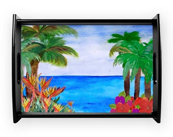 Bird of paradise beach coastal serving tray from my art, available in 2 sizes