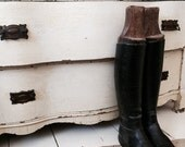 SALE SALE SAL Antique French Riding boots, all leather, wood liners