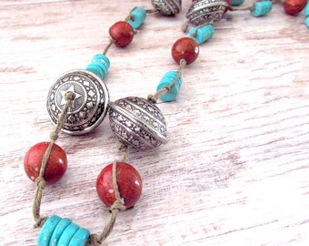 Womens Long Boho Necklace - Gemstone Boho Statement Necklace - Womens Long Gemstone Necklace - Womens Turquoise Necklace - Bohemian Jewelry