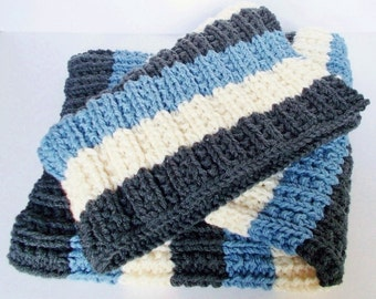 Hand Knit Baby Blanket, Chunky Knit Toddler Afghan, Ready To Ship, Lap Throw, Bold Stripes Modern Knit Blanket, Boy Girl Baby Shower Gift
