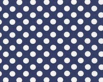 Spot On Navy White Polka Dots Robert Kaufman Fabric, Choose your cut