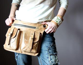Patina Beige Belt Bag, 4 Pocket Belt Bag, Bum Bag, Waist Bag, Leather Pouch, Hippie Bag, Festival Bag, Utility Belt, Shoulder Bag, Hip Purse
