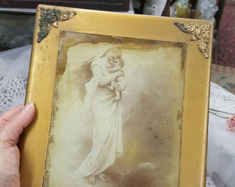 Shabby Antique Art Noveau Mother and Child Print in Gilt Frame from Rustysecrets